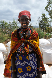 Nailepo Sikut walked to the CFGB distribution centre to receive food for her family.
