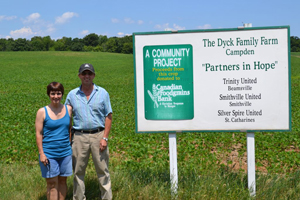 Larry and Marg Dyck in Beamsville have been strong CFGB advocates for 16 years and are currently donating 90 acres of their land to three growing projects supported by Trinity United, Smithville United and Silver Spire United churches.