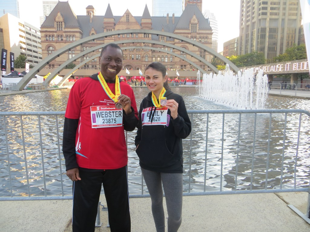 Webster Moyo and Emily Vandermeer after completing the 5K run for PWS&D.