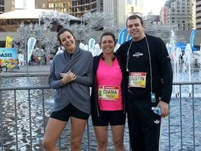 Melissa, Diana and Justin Veenstra - from the Church of St. Andrew and St. Paul in Montreal - after completing the half marathon.