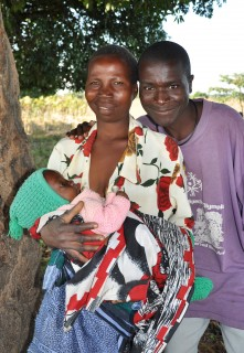 Patrick, Caroline and their new baby in northern Malawi