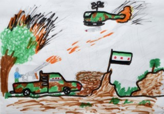 A refugee child's drawing depicts the violence from which hundreds of thousands of Syrians have fled. Photo: Paul Jeffrey, ACT Alliance