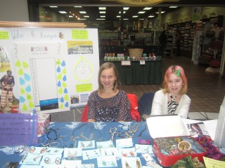 Aisnley and Karrah operating a clean water awareness and fundraising booth at Salmon Arm mall.