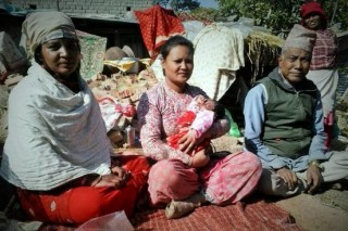 Kabita Shrestha (middle) with her sister-in-law and father. She is the main provider for the family. Photo: LWF/Lucia de Vries