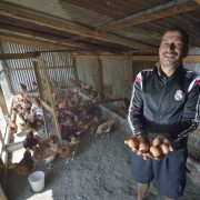 Ram Krishna Adhikari displays eggs laid by his chickens in Makaising, a village in the Gorkha District of Nepal, where Dan Church Aid, a member of the ACT Alliance, has provided a variety of support to local villagers--including income generating projects like Adhikari's chickens--in the wake of a 2015 earthquake.