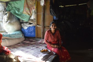 Krishna Kumari in her makeshift shelter Photo: Lucia de Vries, LWF