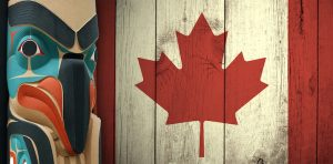 Canada flag with totem