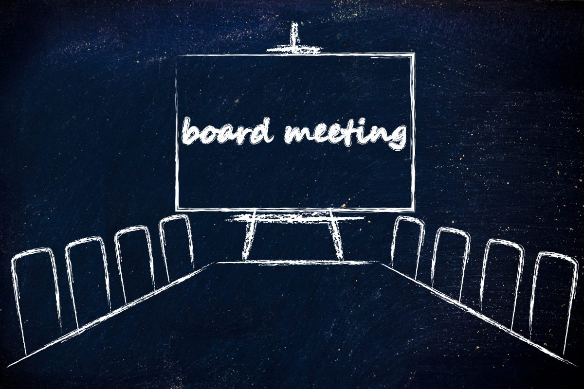 board meeting room with long table and whiteboard