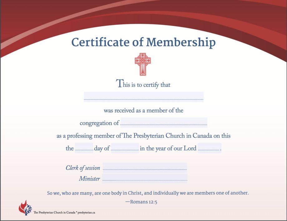 Membership Transfer Certificate