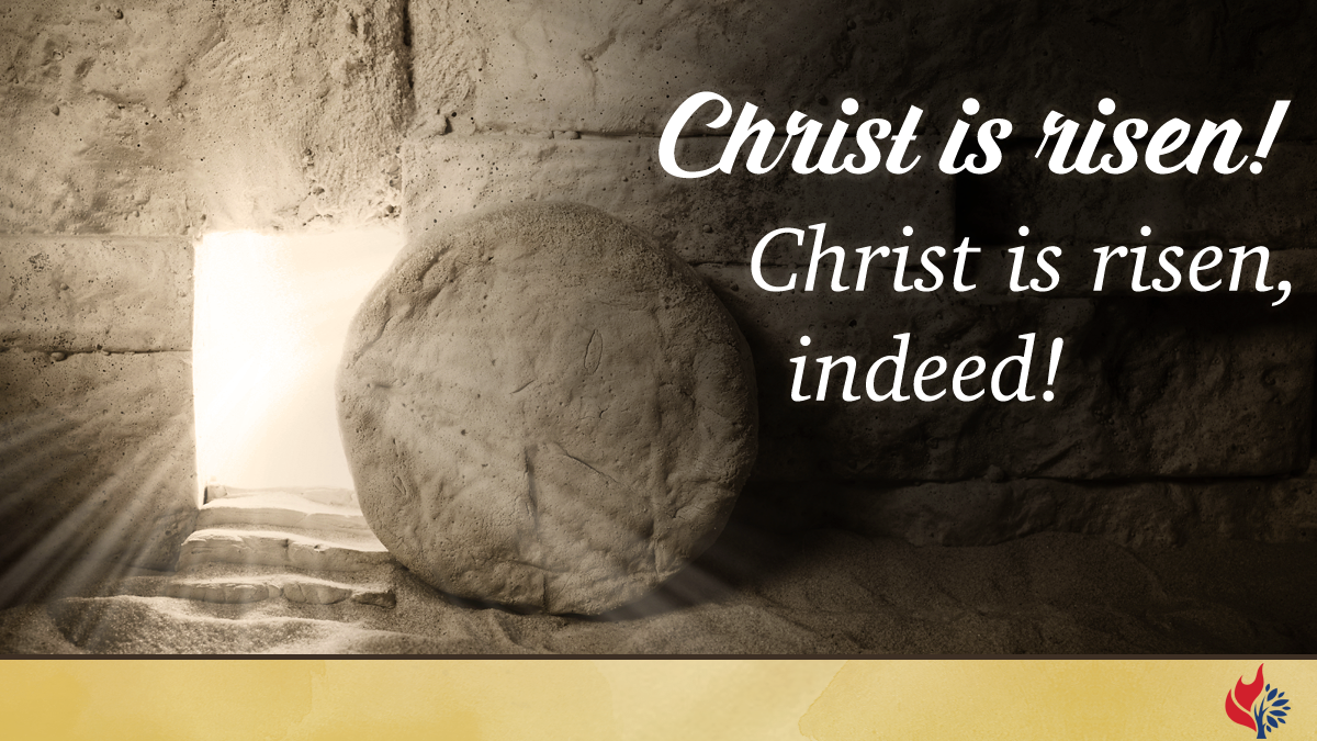 Easter Sunday worship slide image with blank website space that can be filled in with a congregation's website URL.