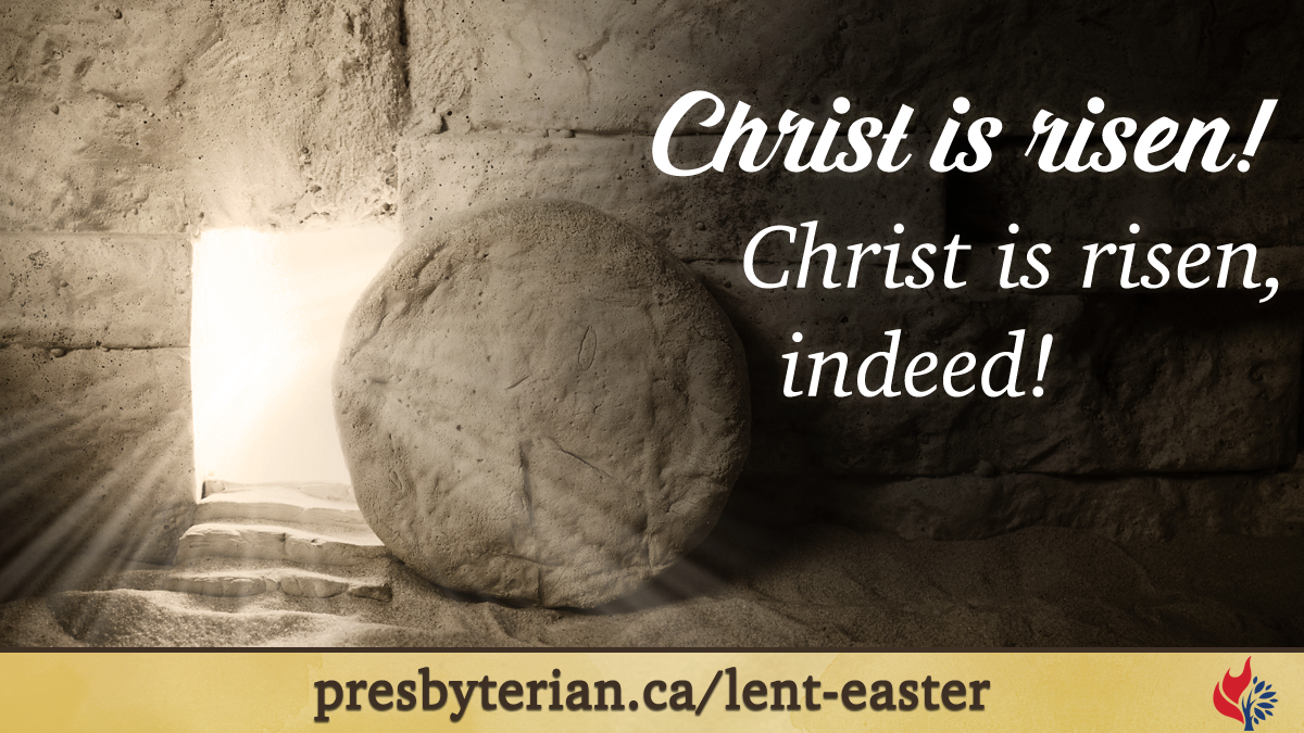 Easter Sunday worship slide image with text.