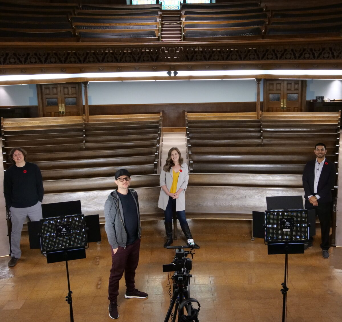 The Worship Crew at Grace Presbyterian Church in Calgary, Alta., filming a service.