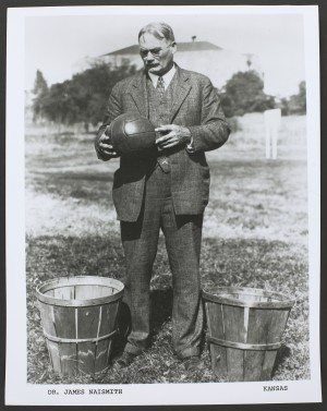 James Naismith with peach basket