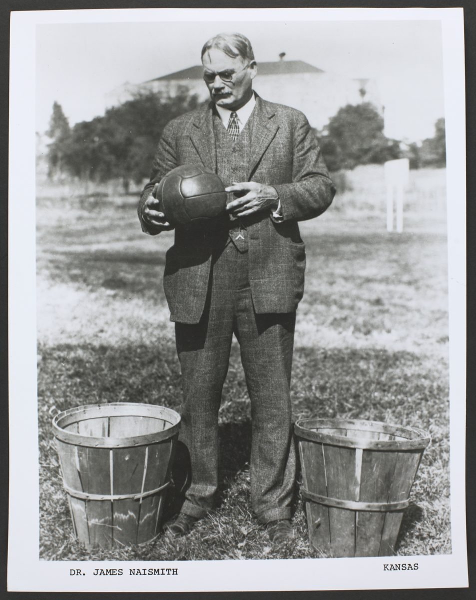 naismith james basketball dr peach basket history 1891 ymca baskets massachusetts springfield invented quotes inventor game rules madness march sports