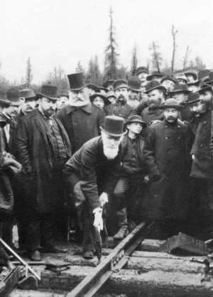 Lord Strathcona driving the last spike for the CPR