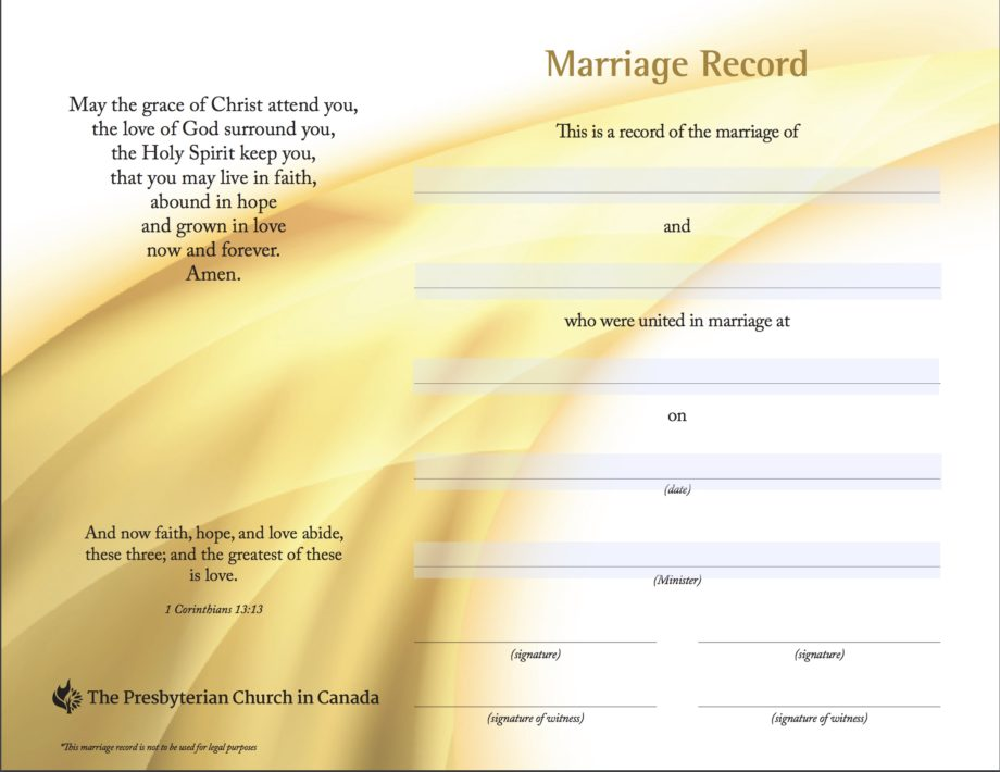 Marriage Record Certificate