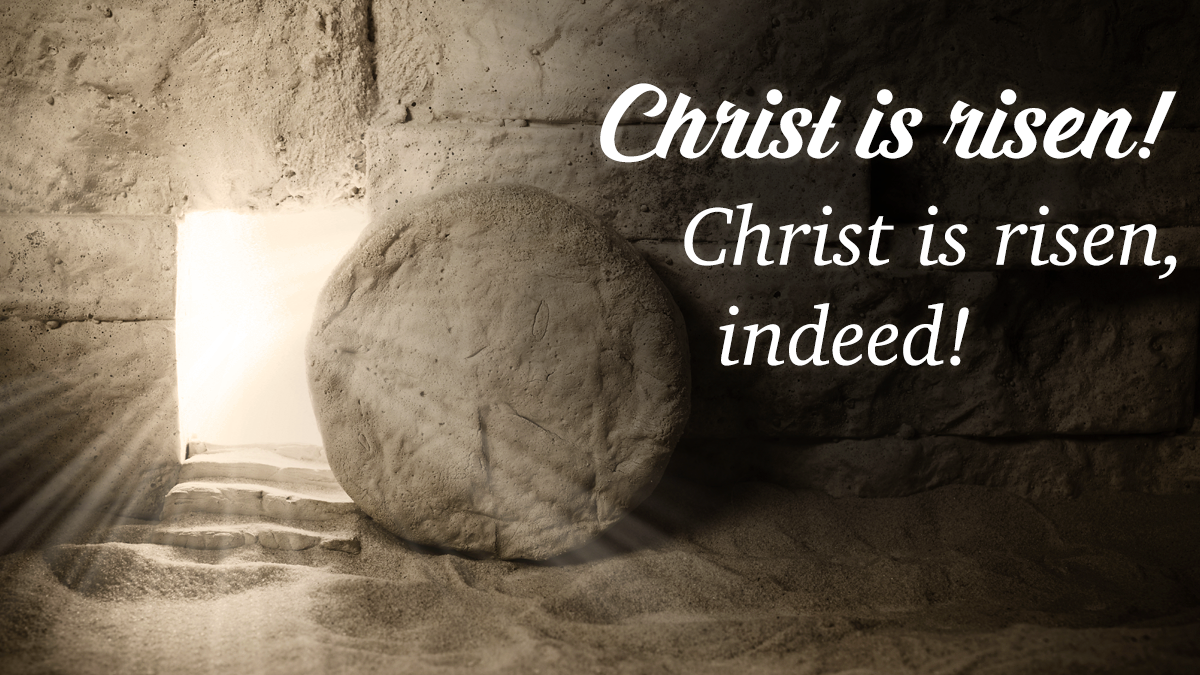 Open tomb and Christ is risen quote..