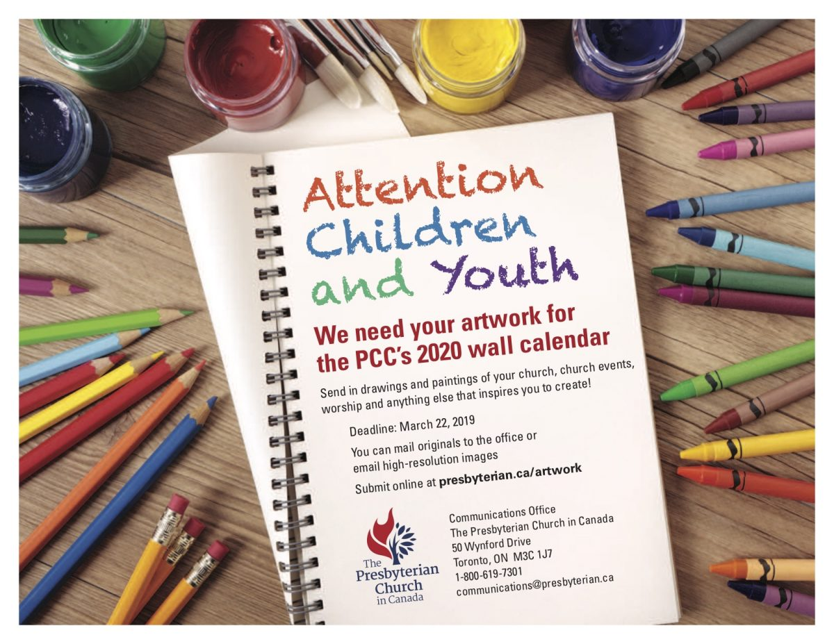 Are you an inspiring artist with a passion for Jesus Christ. Let the spirit move you to create and submit it to presbyterian.ca/artwork. Deadline is March 22, 2019