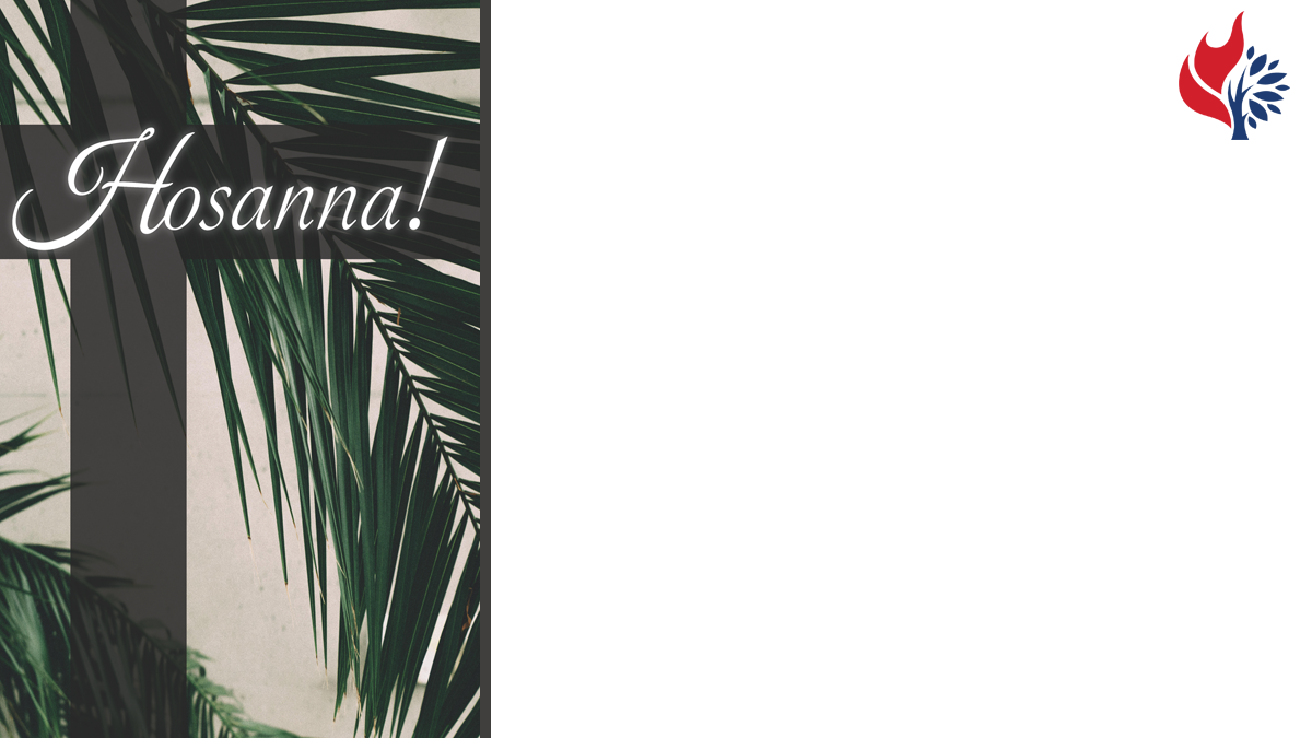 Palm Sunday worship slide image with blank space that can be filled in.