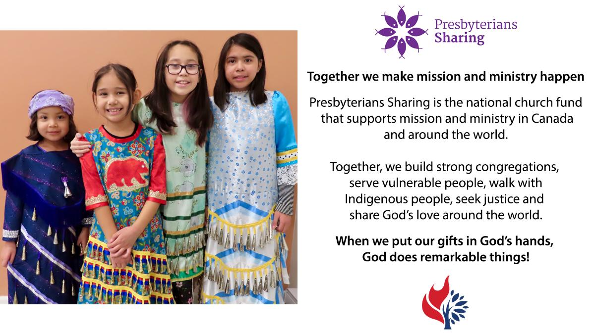 Presbyterians Sharing worship slide image with Hummingbird Ministries photo.