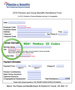Remittance Form Member ID