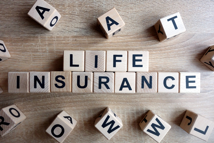 Life insurance text from wooden blocks